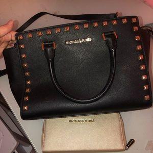 Authentic black Michael Kors purse and wallet